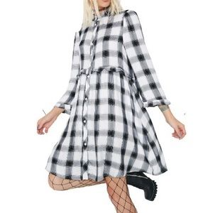 Dresses & Skirts - Brand new no tag checked shirt style dress